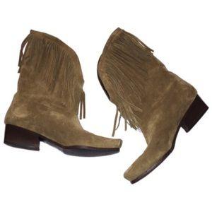 Charles Jourdan Paris suede fringe 6.5 boots